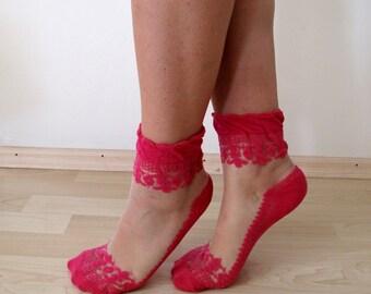 Fuschia Lace Socks, Transparent Socks,crystal lacy socks, ultra thin, transparent top, cotton bottom, elegant shape