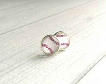 Baseball Stud Earrings - small button style white red stitch print under glass dome / little silver bezel post - mom fan player team coach