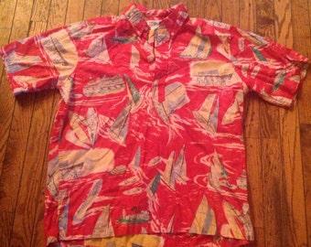 Vintage Reyn Spooner Hawaiian Shirt Sailboats Sz Large Reverse Fabric