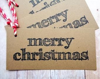 Merry Christmas Gift Tags Pencil Sketch Brown Kraft Tag Rustic