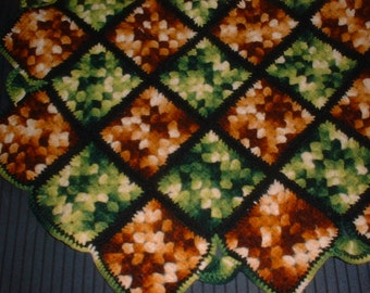 Striking Antique AFGHAN Throw Classic 50s Wool Green & Orange