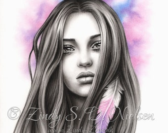 The Seeker Galaxy Dreamer Hope Fantasy Girl Art Print Emo Fantasy Zindy