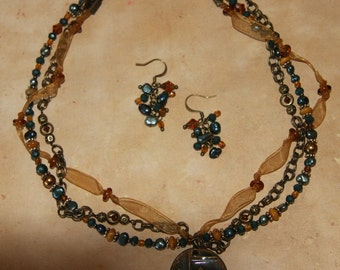 Ancient Runes - Multi-strand Necklace, earrings in Teal and Mustard