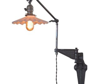 Industrial Articulating Wall Light w Petticoat Shade