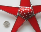 Spot the Heart star- 10 inch art glass star with colored and engraved 3D Soapstone heart