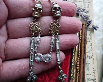 Skull & Paste Chandelier Earrings, Memento Mori Talismans for the Alchemist, by RusticGypsyCreations
