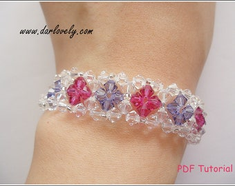 Beaded Bracelet PDF Pattern - Crystal Purple Ruby Flower Cuff Bracelet (BB042) - Beading Jewelry PDF Tutorial (Instant Download)
