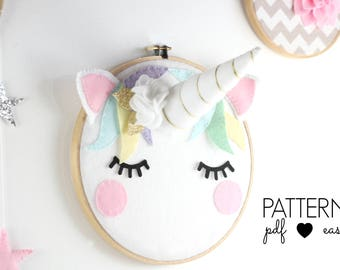 Unicorn Art Pattern- Unicorn Head, Nursery Art, Scandinavian Nursery Decor, Boho Unicorn, Sleepy Eyes, Felt Pattern, Unicorn Decor