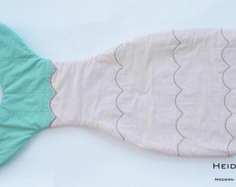 pink and aqua mermaid tail quilt blanket -  blankie sleeping bag