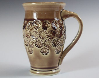 Ceramic Handmade Textured Flower Coffee Tea Cup in Tan for the Home Contemporary Pottery