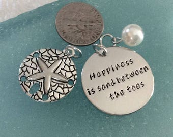 """3 - Happiness is Sand Between the Toes """" 3 piece charm pendant sets, beach charms, Sand dollar charm, Faux Pearl, beach necklace"""