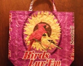 NEW LOW PRICES,  Upcycled Recycled Repurposed  Grocery Market Tote or Gift Bag for Bird Lovers