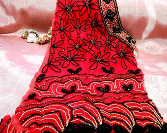 Vintage Beaded Fabric Remnant Costume Steampunk Craft Supply Black Red