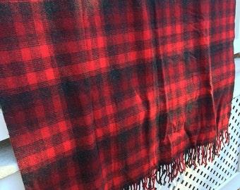 Pendleton Vintage Stadium Blanket Red Plaid Camp Blanket Vintage Bedding Christmas Plaid Blanket Tartan Plaid Pendleton Robe in Bag