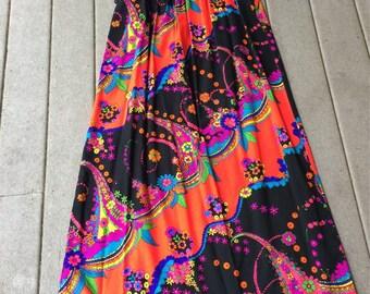 Hawaiian Maxi Dress DayGlow Neon Colors MOD Floral and Swirl Pattern Vintage Hawaiian Dress Made in Hawaii
