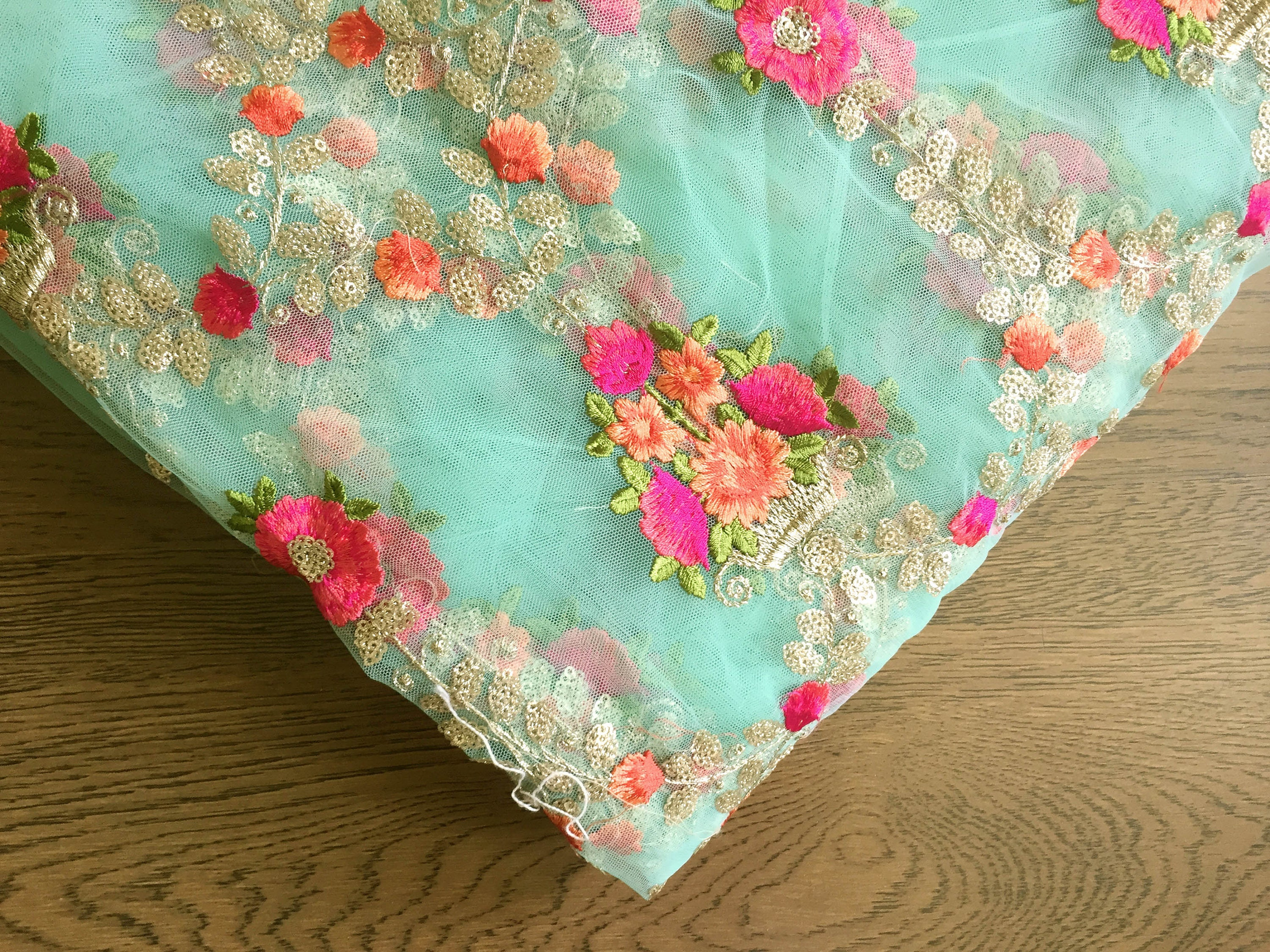 Aqua embroidered mesh floral embroidery fabric by the