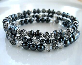 Silver and Non Magnetic Hematite Bracelet Set Gunmetal Stacking Bracelet Set Hematite Stretch Bracelet