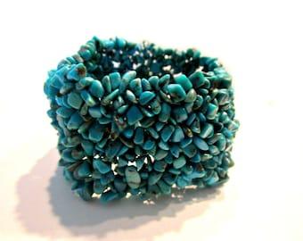 """Vintage Handmade Turquoise Bracelet Stretch Large 2"""" Wide Boho Genuine Stone Bracelet Gift for Her Under 25"""