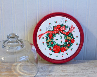 Vintage Christmas Cheese Board with Glass Dome, Red White Holiday Tray, Red Ribbons Roses and Doves, Holiday Entertaining