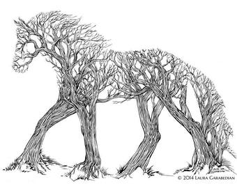 Equibark - ink illustration drawing of a horse made of trees in a forest optical illusion art