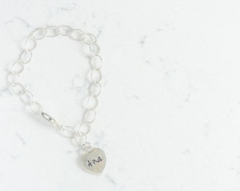 Girls Sterling Silver Heart Charm Bracelet  Hand Stamped, Personalized with Name