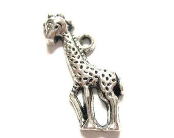 75% Off - 20pcs Silver Giraffe Charms Cute Kid Zoo Animal Jungle Baby Giraffe Beads - Zoo Animal Charms - Antique Silver - 080