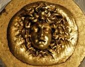 Neoclassical - God - Mercury - Medusa Onyx Paperweight- Sculpture - Greek - Roman - Bust - Figural - Face - Gilt - Medallion - Gold - Ormolu