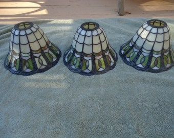 3 Vintage Stain Glass Leaded Lamp Shades