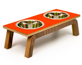 "Only 2 Left ~ POPPY  ~ Mid Century Modern Pet Feeder | Elevated SMALL Cat & Dog Bowl | 16 oz Stainless Bowls | ""Double Diner"""