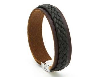 Brown leather cuff, Mens bracelet, Mens leather cuff - the Twain Cuff