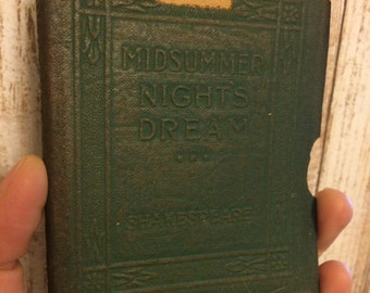 Distressed - MIDSUMMER NIGHTS DREAM by William Shakespeare  - Miniature Book Little Leather Library 1920s Antique Vintage