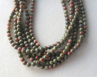 "Unakite Round Beads, Gemstone Beads, Jewelry Making Beads, Necklace design, 15"" Strand 8mm"