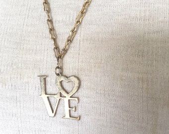 LOVE word pendant necklace 60s 70s vintage modern art mod jewelry wedding bridal heart 24 inch delicate gold chain necklace hippie hippy
