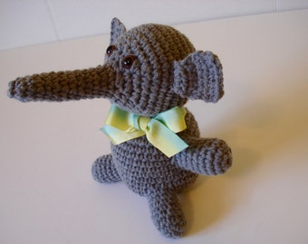 Crochet Soft Stuffed Little Small Gray or Grey Elephant with Trunk Happy Animal Toy Doll Jungle Creature with Yellow Green Ombre Neck Ribbon