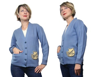1965 Varsity Cardigan Sweater in Blue Peleans S'65 Perfection Knitting Mills XS/S