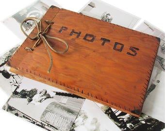 Kitschy Vintage Handmade Wooden Photo Album with Unused Pages, Primitive Woodburning Folk Art