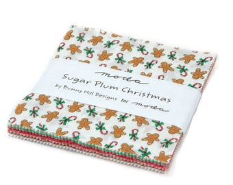 """Sugar Plum Charm Pack by Bunny Hill - Christmas Fabric Charm Pack - 5"""" Squares"""