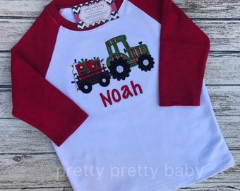 pretty festive tractor with presents applique Christmas shirt