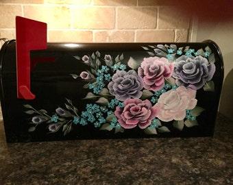 Rose mailbox, hand painted mailbox, pink rose mailbox, purple rose mailbox shabby chic mailbox standard black mailbox custom painted mailbox