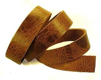 "One ANTIQUE TAN 8-10oz BUFFALO Leather Strips 1/4""-3"" wide x 12""-60"" long"