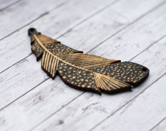 Black feather pendant, Wooden feather, Feather ornament, Large wood pendants, Feather with pattern, Brooch components, Stained black wood