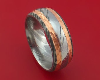 Damascus Steel Ring with Hammered Copper Inlays Custom Made Band
