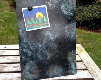 Magnetic Chalkboard with a rusty watery lichen and moss painted finish, metal over hardboard with an easel back, One of a Kind metal art