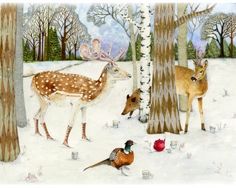 "Winter Woodland Animal print Giclee 8""x11"" Deer, Pheasant, Trees and Wild Boar tea party"
