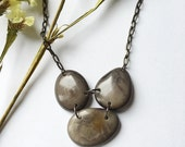 Gray necklace. tagua nut jewelry. Light weight necklace.  Smokey charcoal Necklace. Sela Designs. READY TO SHIP Jewelry. Charity. Stocking