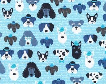 Robert Kaufman Blue Dog Head On Script Fabric - 1 yard