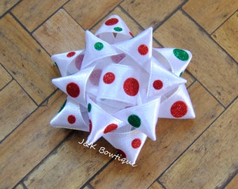 Christmas gift bow...Red, Green and white....Christmas...Holiday