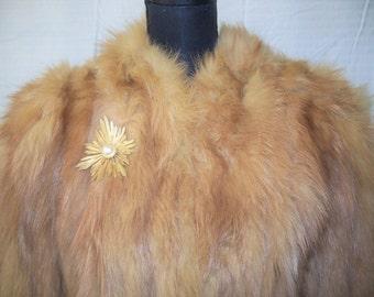 Vintage 100% Carmel Fur Coat w/Hook Front Sz M/L