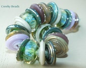 "Handmade Lampwork Disc  beads ""Green & Lilac""! Creeky Beads SRA"