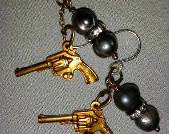 Pistols and grey pearls earrings with sterling hooks
